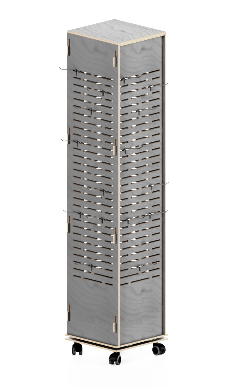 e275 - scaffale girevole con appendini in ferro