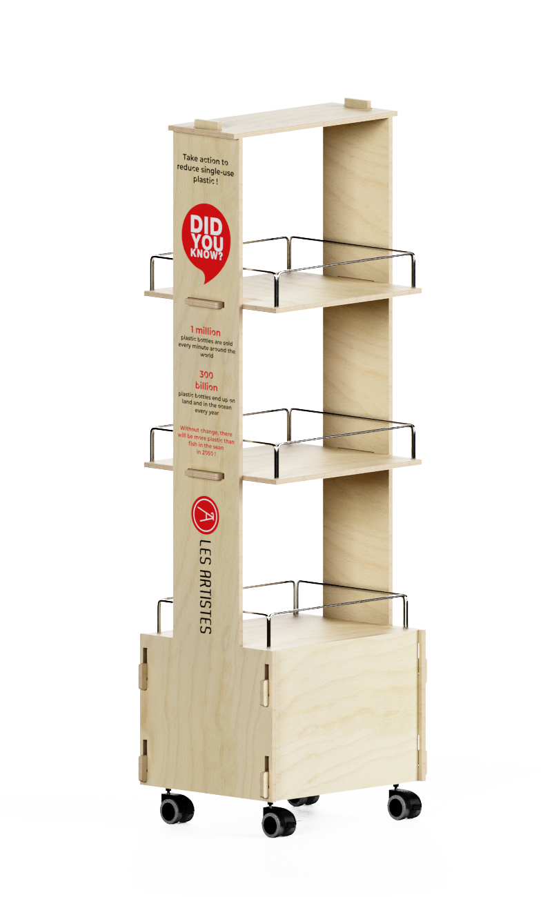 e277 - wooden shelf display with floatin shelves