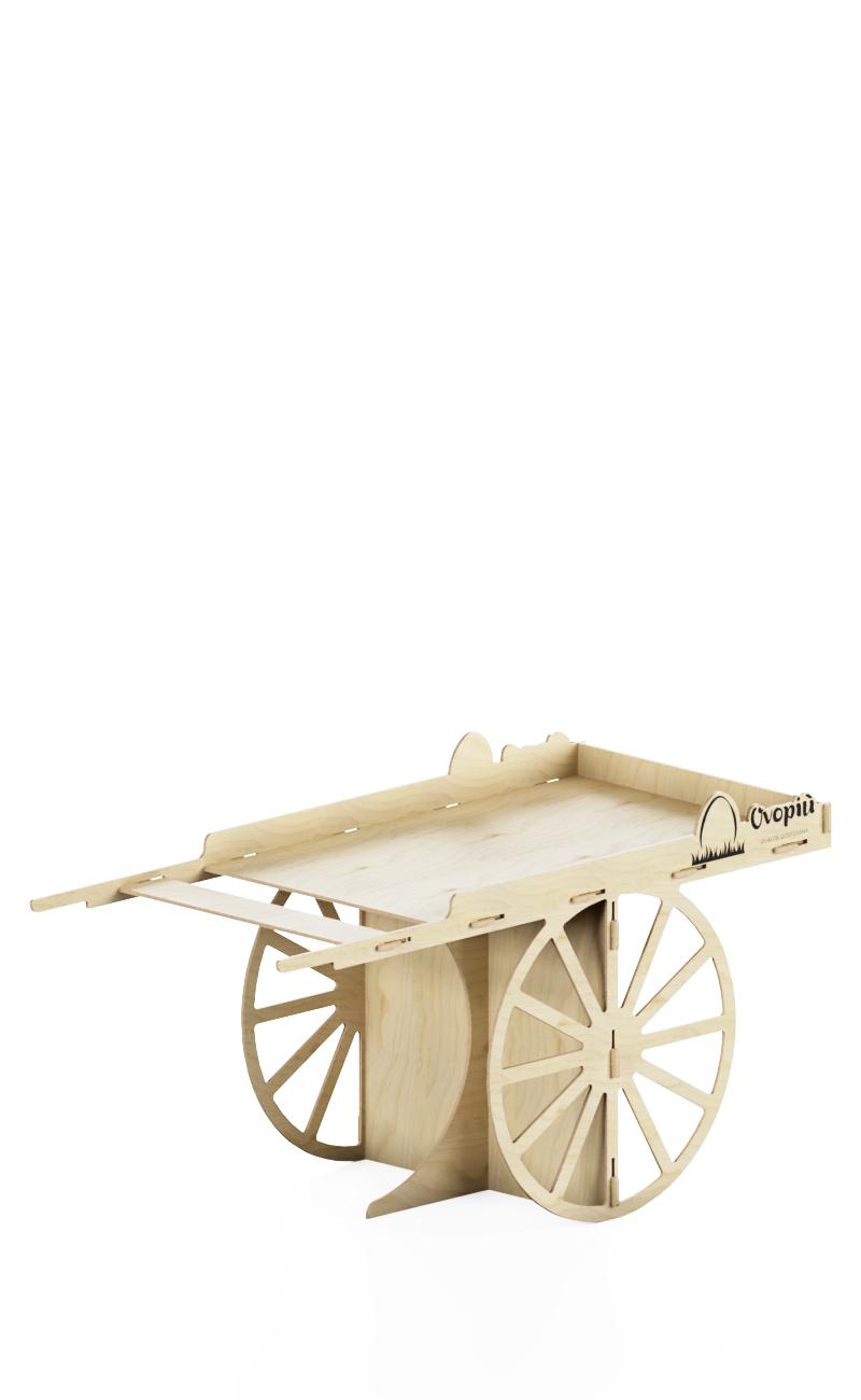 handcart vintage style in natural birchwood