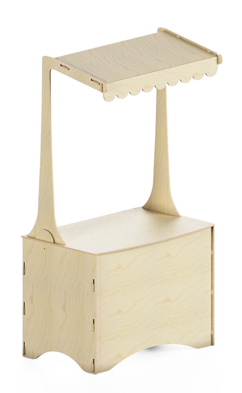 Bancone espositivo in legno ampio con tetto